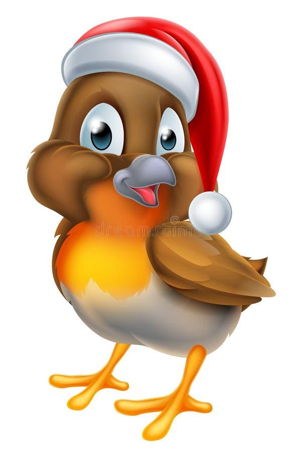 Bożenarodzeniowy kreskówka rudzika ptak royalty ilustracja