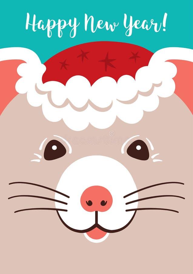 Bożenarodzeniowy kreskówka szczur, kartek z pozdrowieniami Wesoło boże narodzenia 2020 i nowy rok, Śliczna mała mysz wakacje kart ilustracji
