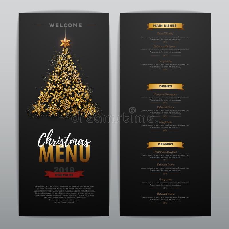 Bożenarodzeniowy menu projekt z złotą choinką ilustracji