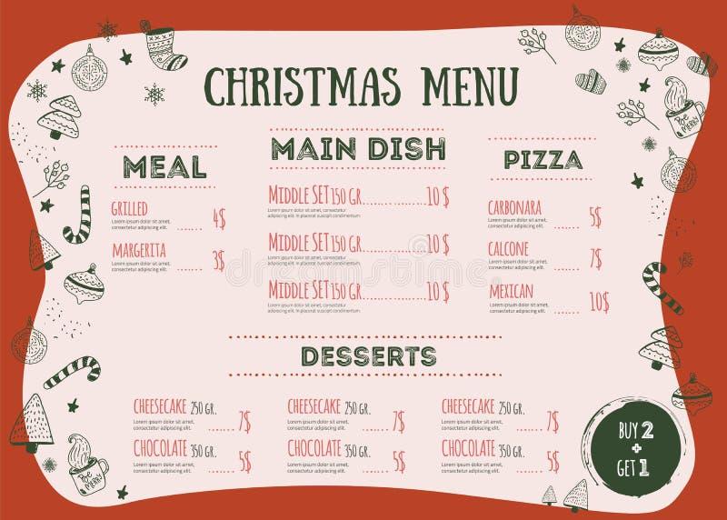 Bożenarodzeniowy menu projekta szablon z literowaniem wokoło dostępnego tła kolorów różnego naczynia rozwidlenia nożowego restaur royalty ilustracja