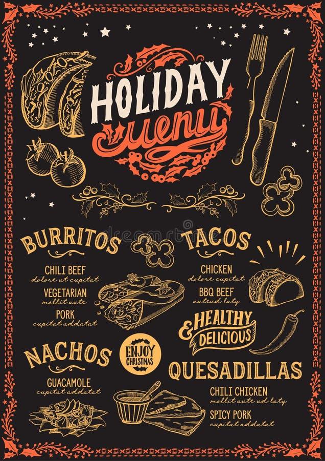 Bożenarodzeniowy menu szablon dla meksykańskiej restauraci ilustracji