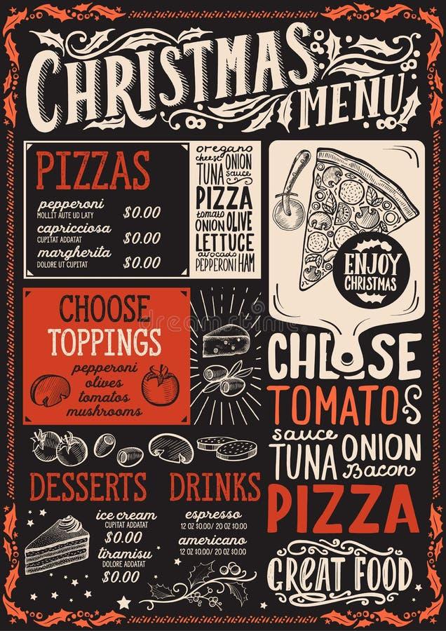 Bożenarodzeniowy menu szablon dla pizzy restauracji i kawiarnia na blackboard tła wektorowej ilustracyjnej broszurce dla xmas goś ilustracji