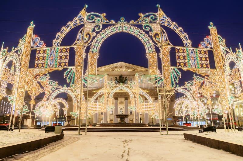 Bożenarodzeniowy Moskwa świąteczna lekka instalacja przed Bol fotografia royalty free