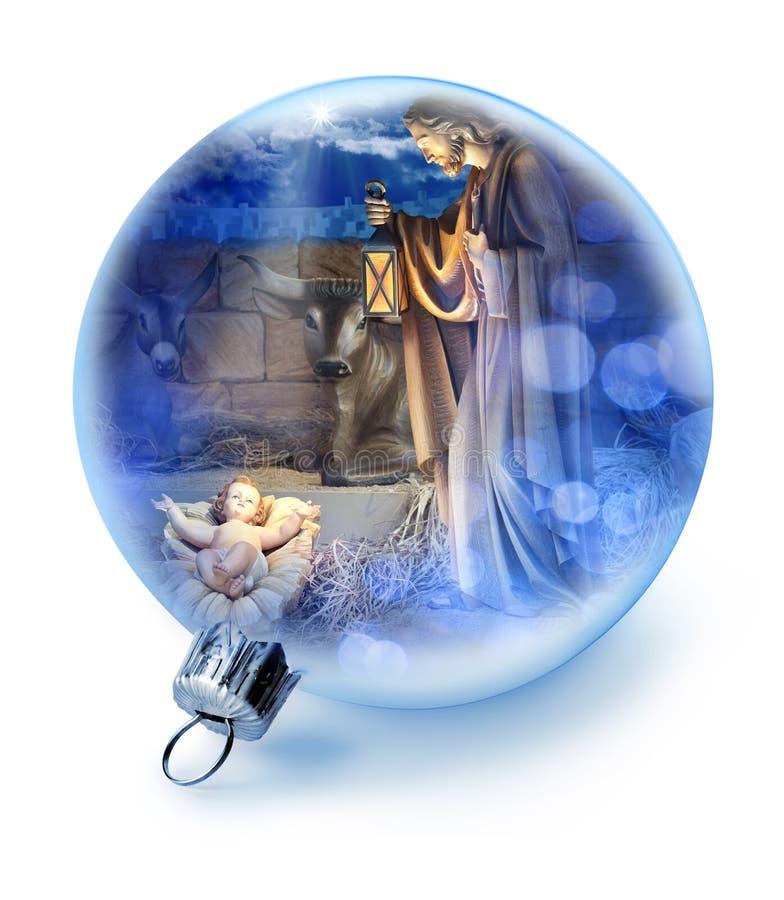 Bożenarodzeniowy narodzenie jezusa sceny ornament fotografia stock
