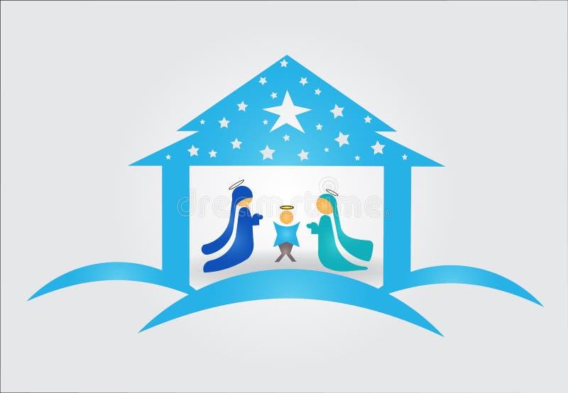 Bożenarodzeniowy narodzenie jezusa sceny wektoru wizerunek ilustracji
