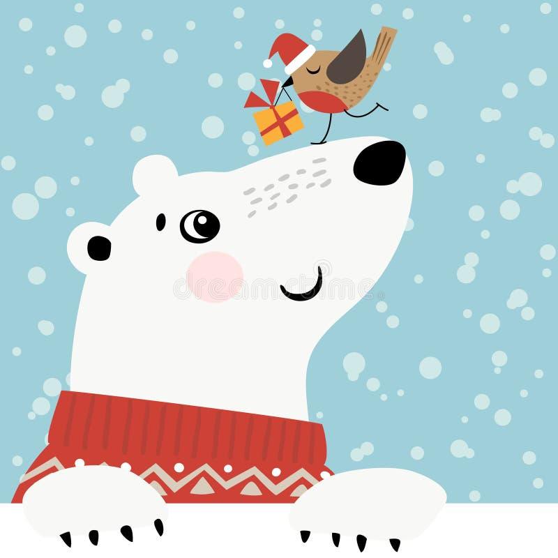 Bożenarodzeniowy niedźwiedź polarny ilustracja wektor