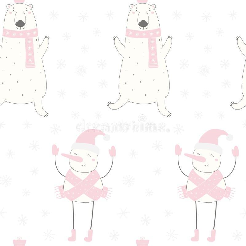 Bożenarodzeniowy niedźwiedź polarny, bałwanu bezszwowy wzór royalty ilustracja