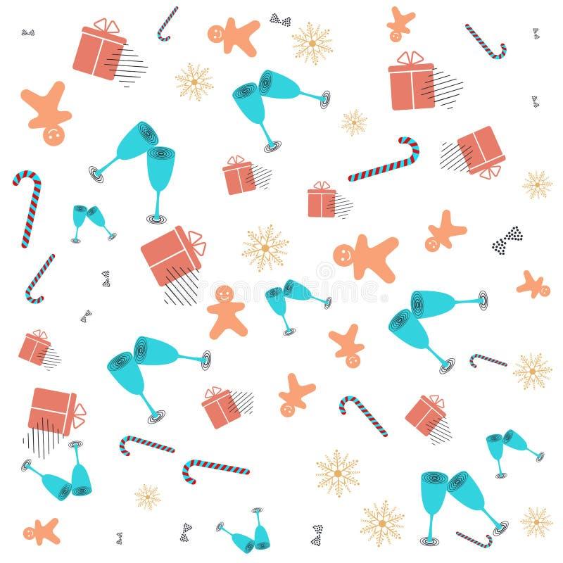 Bożenarodzeniowy nowego roku Memphis wzór z dzwonami, cukierek trzciną, Bożenarodzeniowymi piłkami i abstrakcjonistycznymi geomet ilustracja wektor