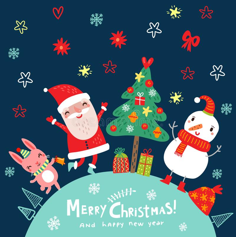 Bożenarodzeniowy nowego roku tło z Santa i uroczymi charakterami ilustracja wektor