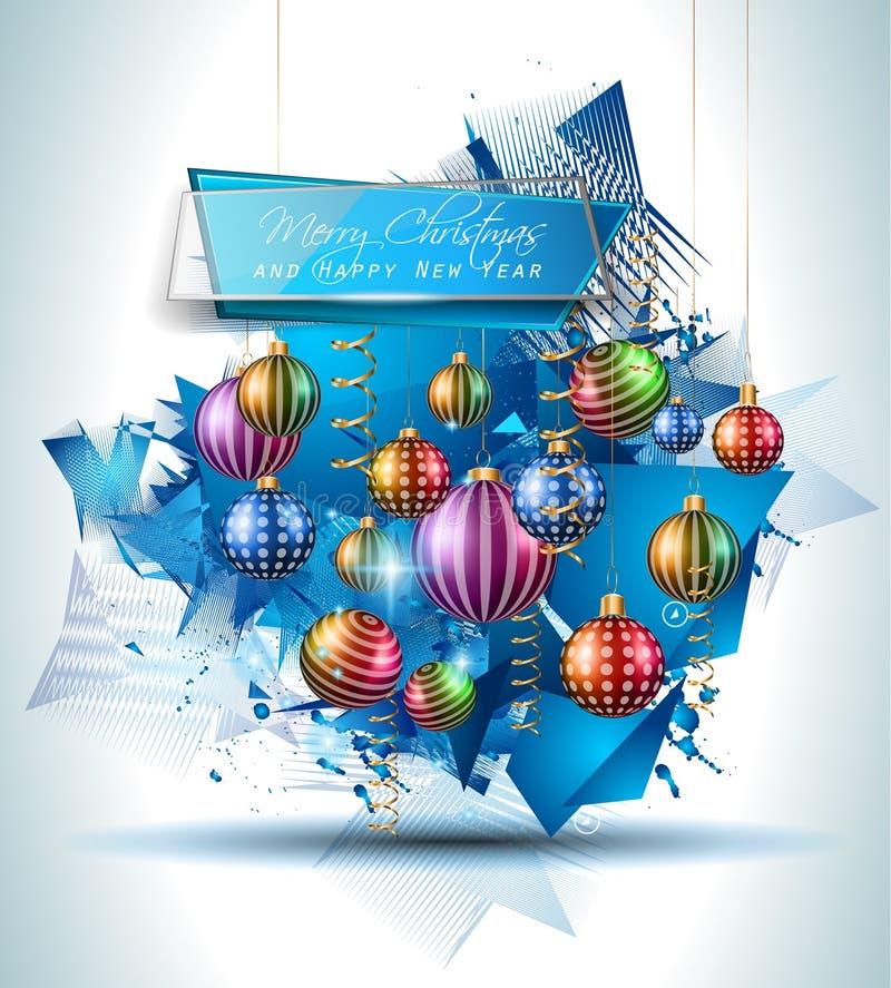 Bożenarodzeniowy Nowożytny tło z piłkami i gwiazd światłami ilustracja wektor