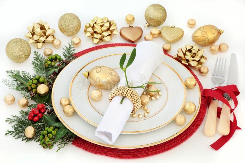 Bożenarodzeniowy Obiadowego stołu położenie zdjęcie royalty free
