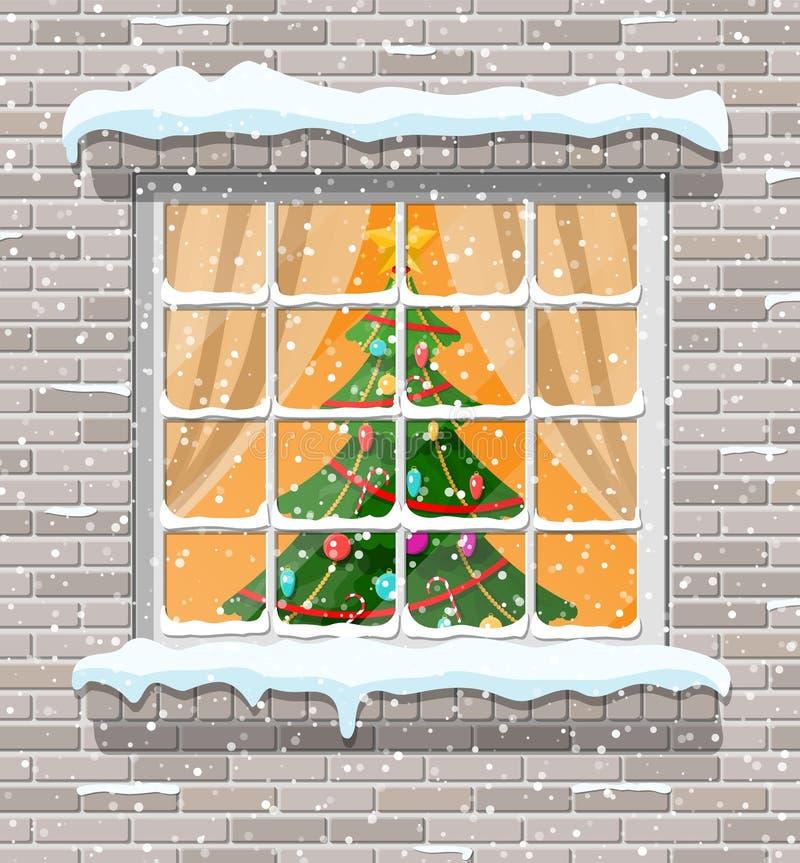 Bożenarodzeniowy okno w ściana z cegieł ilustracja wektor