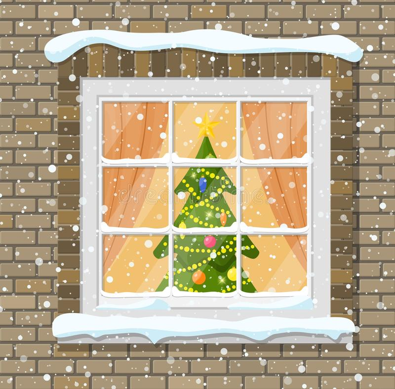 Bożenarodzeniowy okno w ściana z cegieł ilustracji