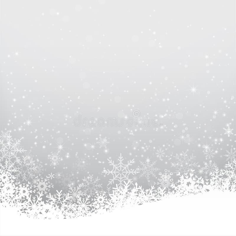 Bożenarodzeniowy płatek śniegu i starlight bakcground wektoru abstrakcjonistyczna bolączka ilustracji