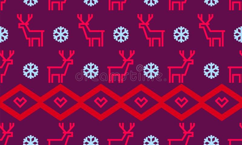 Bożenarodzeniowy płatka śniegu i rogacza deseniowy tło dla zima wakacje nowego roku kartka z pozdrowieniami projektuje szablon We ilustracja wektor