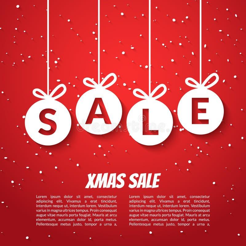 Bożenarodzeniowy piłki sprzedaży plakata szablon Xmas sprzedaży tło Zima wakacje rabata oferty poremanentowy czerwony szablon royalty ilustracja