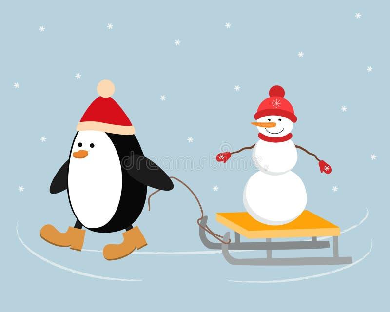 Bożenarodzeniowy pingwin w czerwonym kapeluszu niesie bałwanu na saniu ilustracja wektor