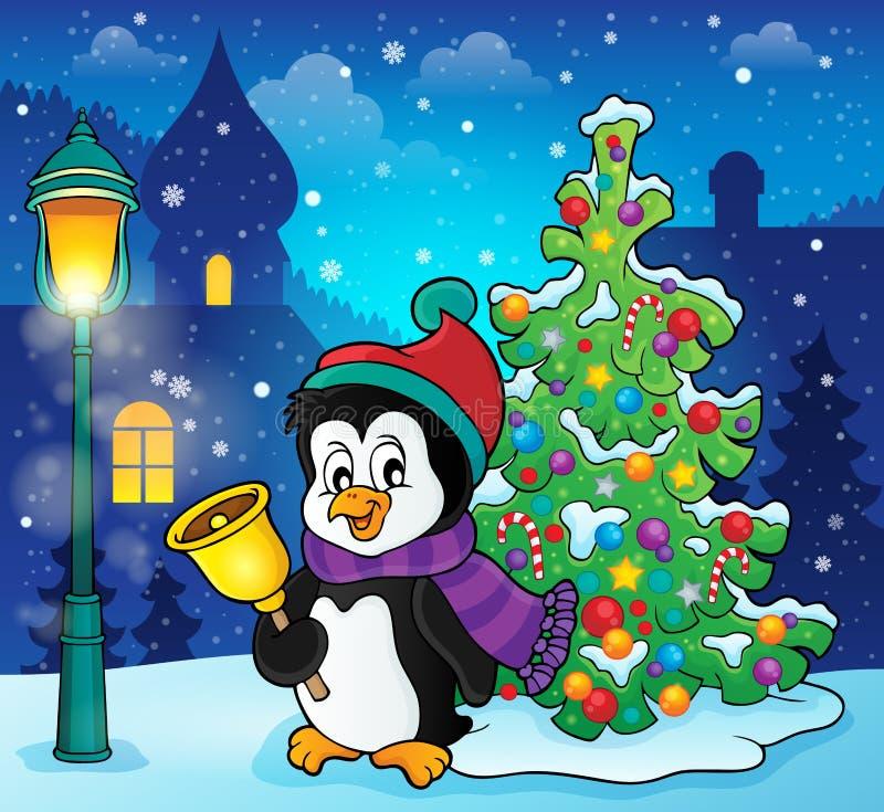 Bożenarodzeniowy pingwinu tematu wizerunek 4 ilustracja wektor