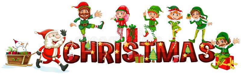 Bożenarodzeniowy plakat z Santa i elfami ilustracja wektor