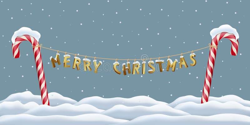 Bożenarodzeniowy pocztówkowy szablon Wesoło bożych narodzeń złoci listy wiesza między czerwonymi cukierek trzcinami na snowing zi ilustracji