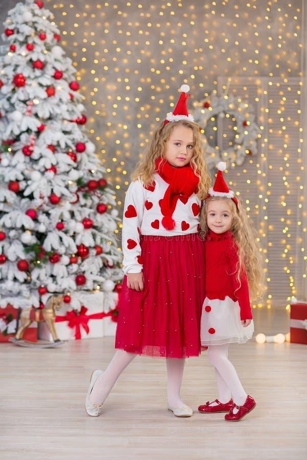 Bożenarodzeniowy portret dwa beautyful ślicznej dziewczyny Uśmiecha się siostra przyjaciół i xmas luksusu zieleni białego drzewa  fotografia royalty free