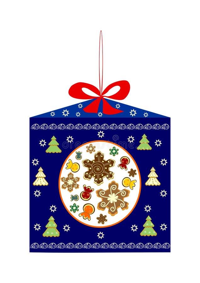 Bożenarodzeniowy prezent ciastka i cukierek ilustracji