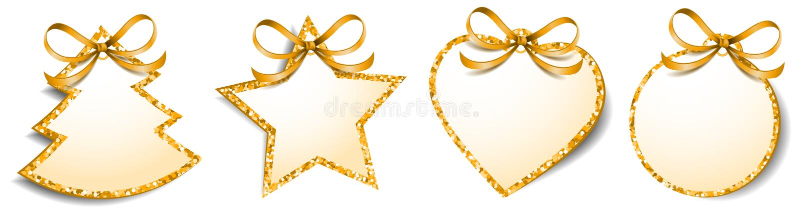 Bożenarodzeniowy prezent oznacza etykietki błyskotliwości złoty puste miejsce odizolowywającego wektor ilustracji