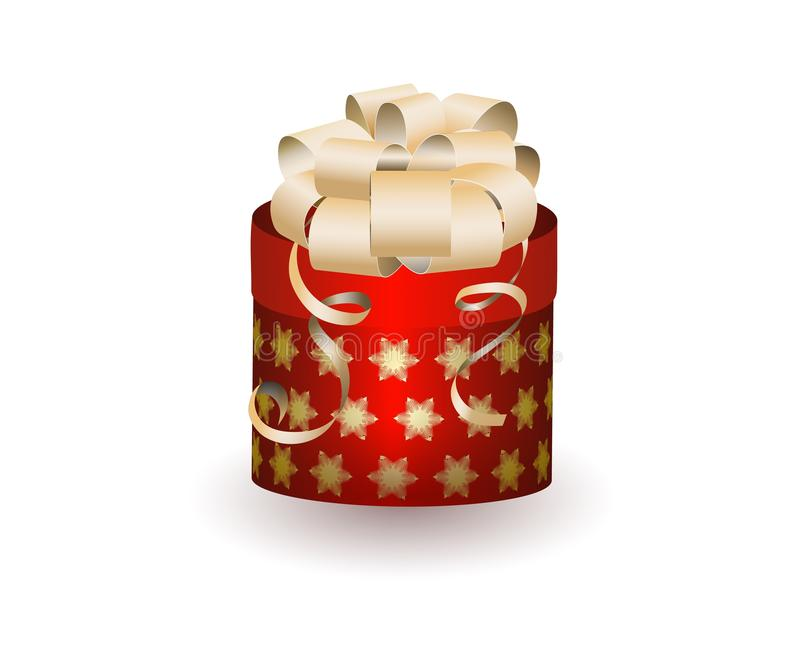 Bożenarodzeniowy prezenta pudełko na białym tło wektorze royalty ilustracja