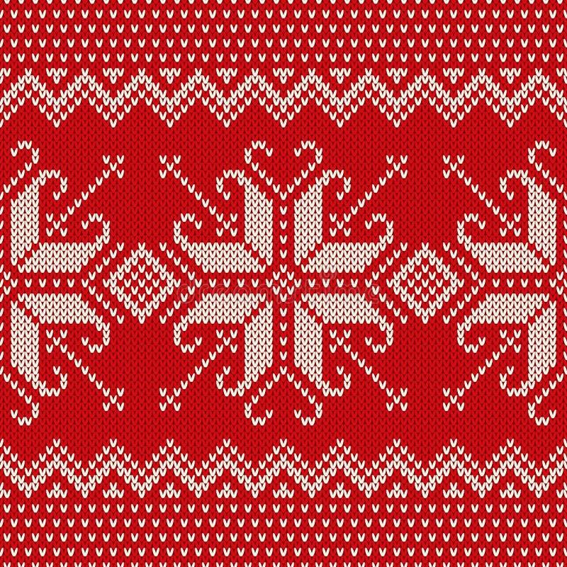 Bożenarodzeniowy puloweru projekt Bezszwowy Trykotowy wzór z Snowflak ilustracji