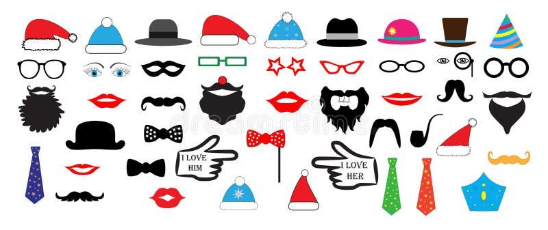 Bożenarodzeniowy Retro przyjęcie ustawiający - szkła, kapelusze, wargi, wąsy, maski ilustracji