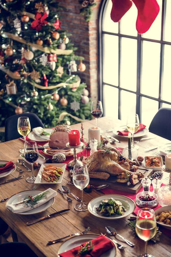 Bożenarodzeniowy Rodzinny Obiadowego stołu pojęcie zdjęcie royalty free