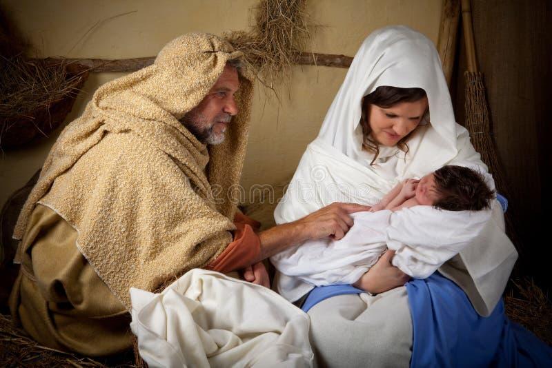 Bożenarodzeniowy rodzinny reenactment zdjęcie royalty free