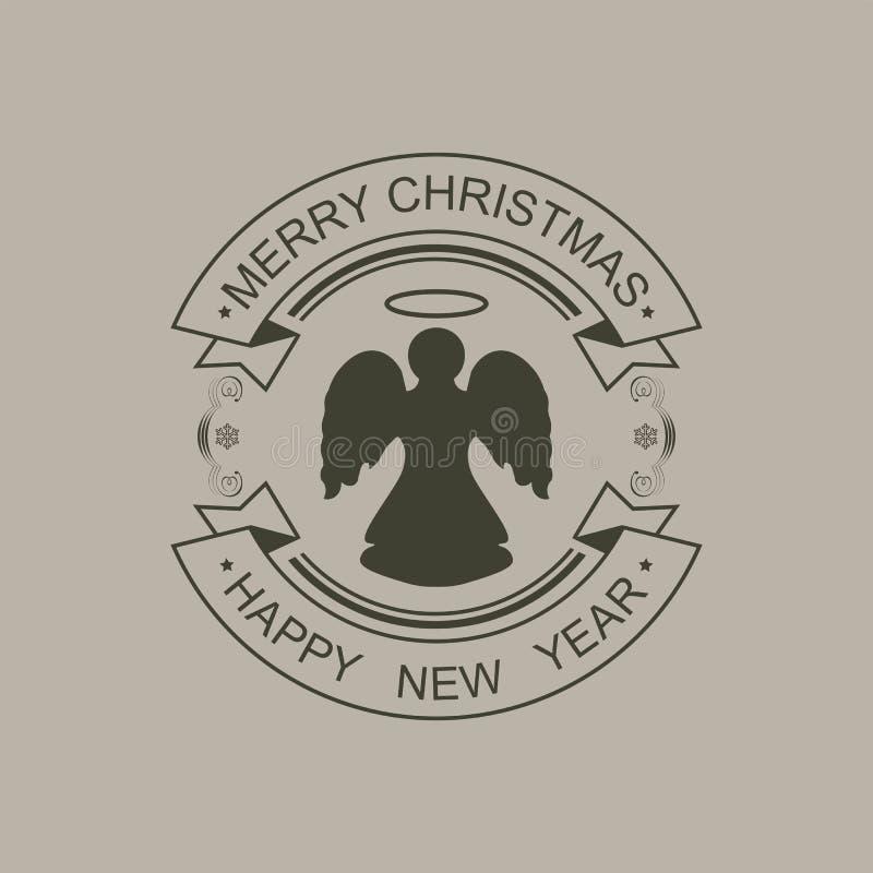 Bożenarodzeniowy round czerń znak z sylwetką tekst i anioł royalty ilustracja