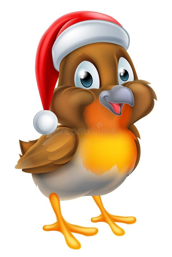Bożenarodzeniowy rudzika ptak w Czerwonym Santa kapeluszu ilustracji