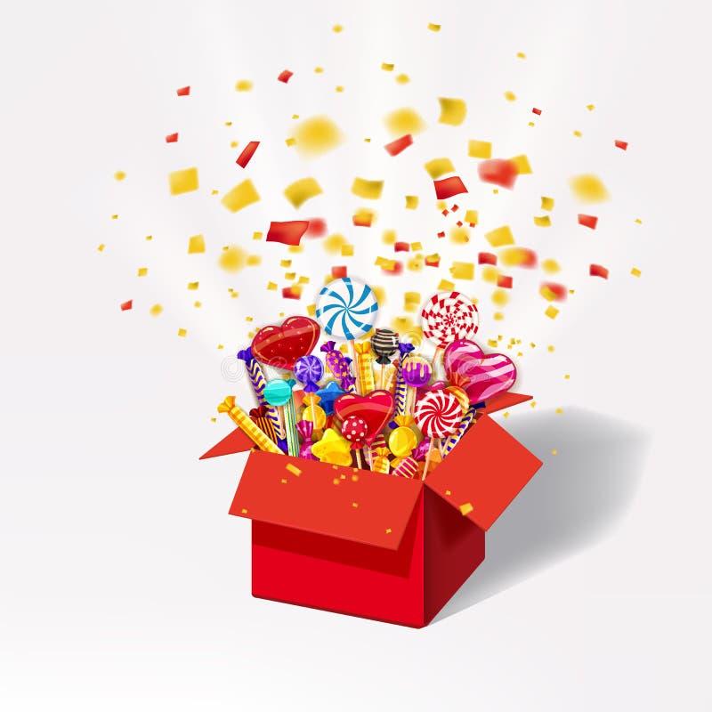Bożenarodzeniowy słodki prezenta pudełko Otwarty 3d-red pudełko z yum, cukierek, galareta, cukierki Wybuch papierowi confetti Świ ilustracji