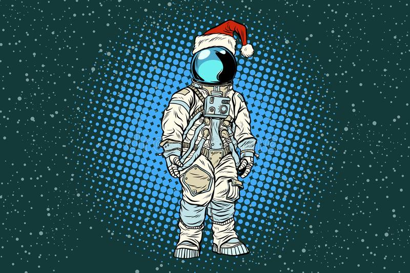 Bożenarodzeniowy samotny astronauta w Santa kapeluszu ilustracji