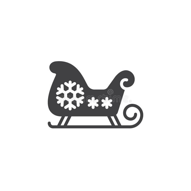 Bożenarodzeniowy sanie, Santa ` s sania ikony wektor, wypełniający mieszkanie znak, w ten sposób royalty ilustracja