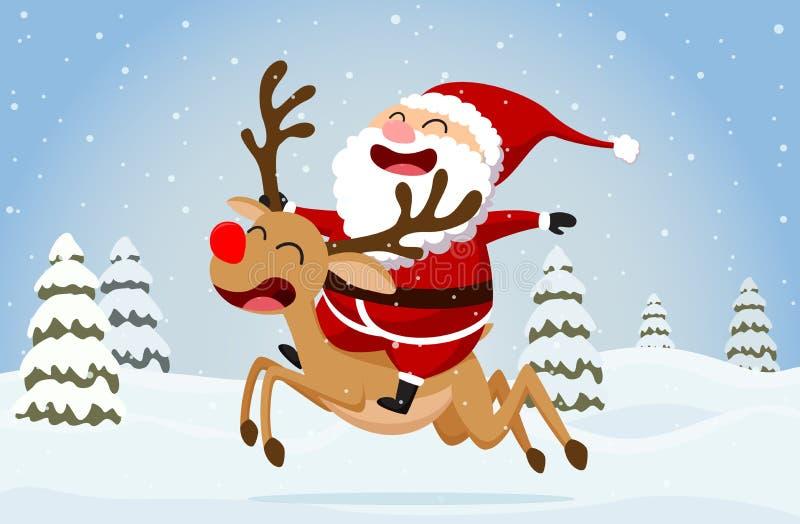 Bożenarodzeniowy Santa Claus, renifera i bałwanu tło, royalty ilustracja