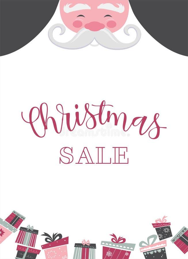 Bożenarodzeniowy Santa plakat lub karta tła bożych narodzeń dziewczyny szczęśliwy sprzedaży zakupy biel ilustracji
