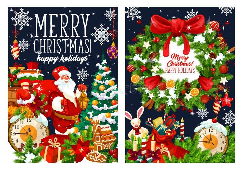 Bożenarodzeniowy Santa z prezentami zdojest, wektorowi powitania ilustracja wektor