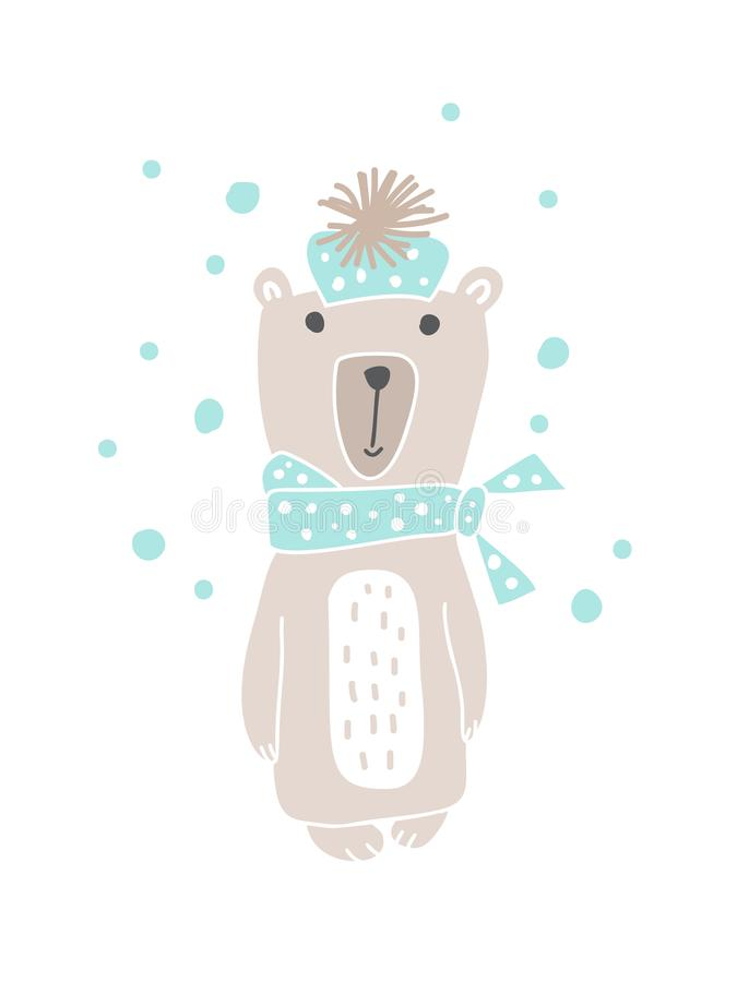Bożenarodzeniowy scandinavian stylu projekt Wręcza patroszoną wektorową ilustrację śliczny śmieszny niedźwiedź w muffler, iść dla ilustracja wektor