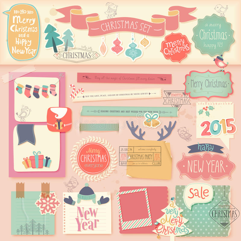 Bożenarodzeniowy scrapbook ustawiający - dekoracyjni elementy ilustracji