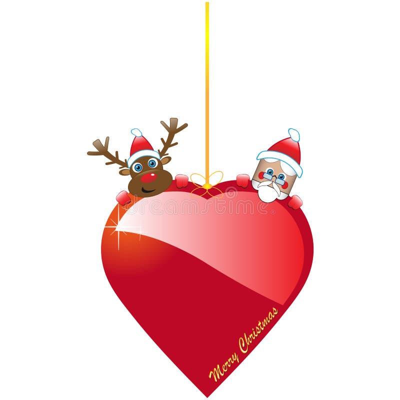 Bożenarodzeniowy serce z Santa i Rudolf ilustracja wektor