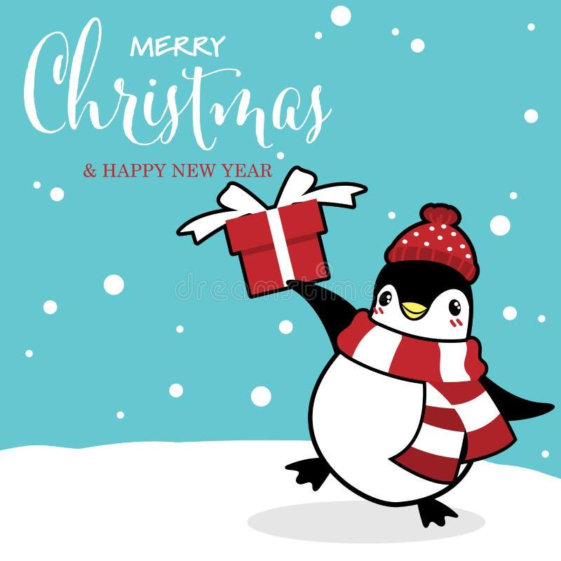 Bożenarodzeniowy sezonu wakacyjnego tło z ślicznymi kreskówka pingwinami w zima zwyczaju ilustracji