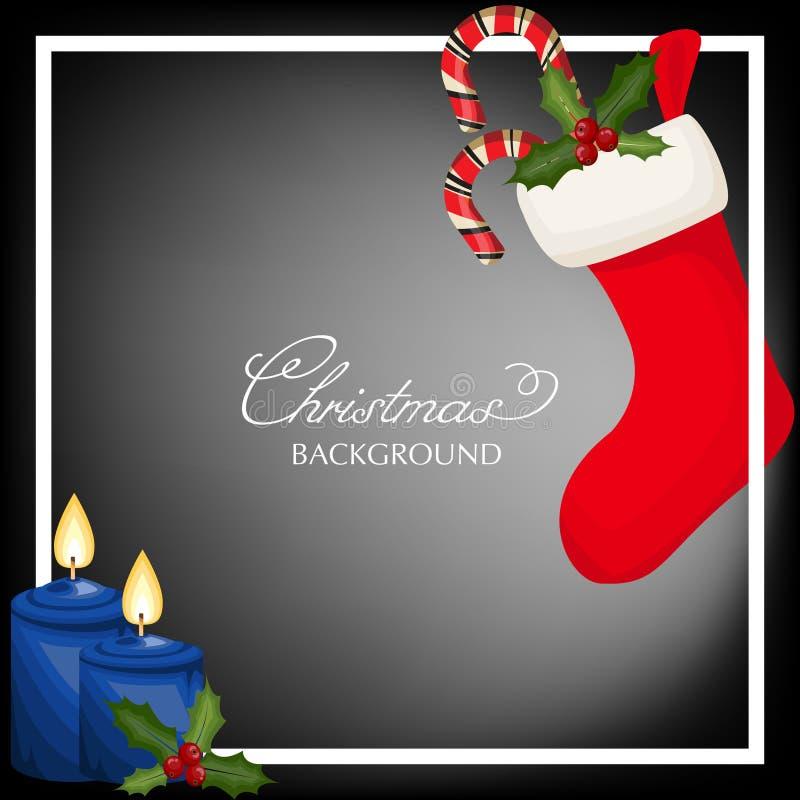 Bożenarodzeniowy sezonu wakacyjnego tło z Bożenarodzeniową świeczką z ogieniem, Czerwonymi skarpetami z cukierek trzcinami i Uświ royalty ilustracja