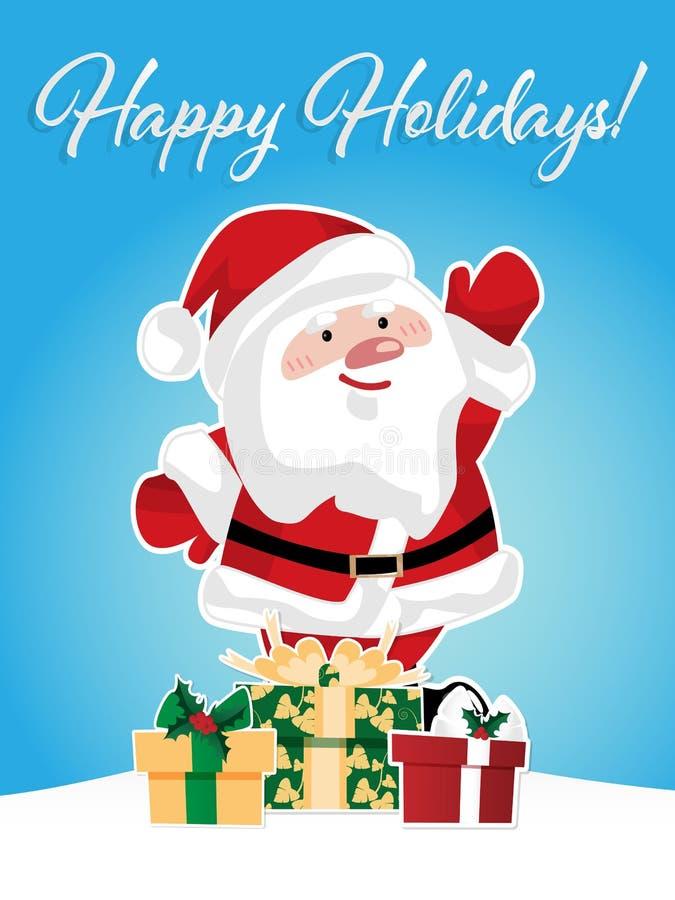 Bożenarodzeniowy sezonu wakacyjnego tło z Bożenarodzeniową kreskówką Święty Mikołaj i prezenta pudełko pod snowing i Szczęśliwi w ilustracji