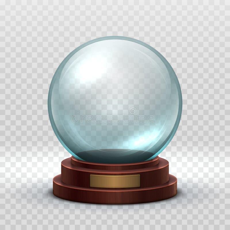 Bożenarodzeniowy Snowglobe Krystalicznego szkła pusta piłka Magiczny xmas wakacyjny śnieżny balowy wektorowy mockup odizolowywają ilustracji