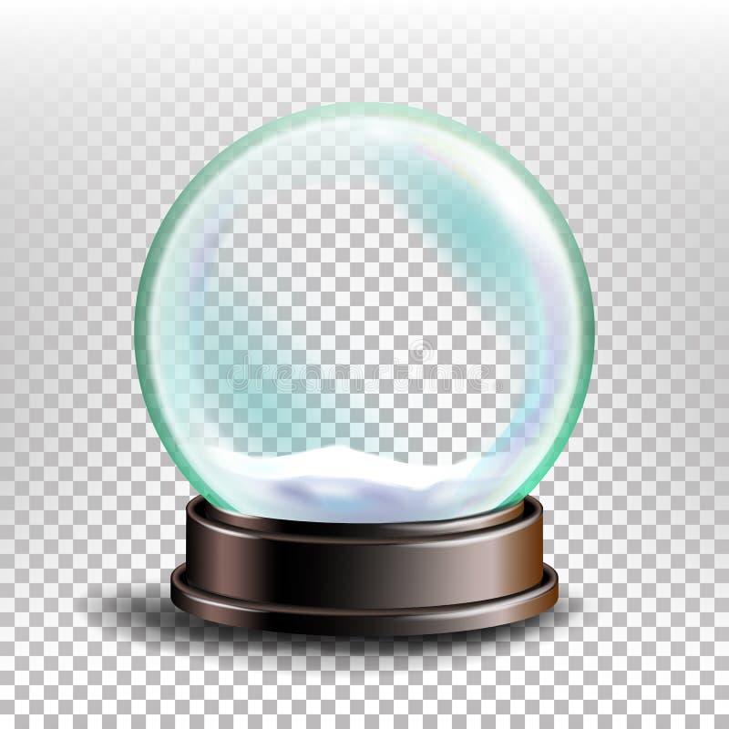 Bożenarodzeniowy Snowglobe wektor Glansowana kopuła Magiczna Xmas wakacje pamiątka tło przejrzysty realistyczna ballons ilustracj ilustracja wektor
