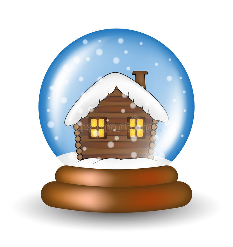 Bożenarodzeniowy snowglobe z kabinowym kreskówka projektem, ikona, symbol dla karty Zimy przejrzysta szklana piłka z spada śniegi royalty ilustracja