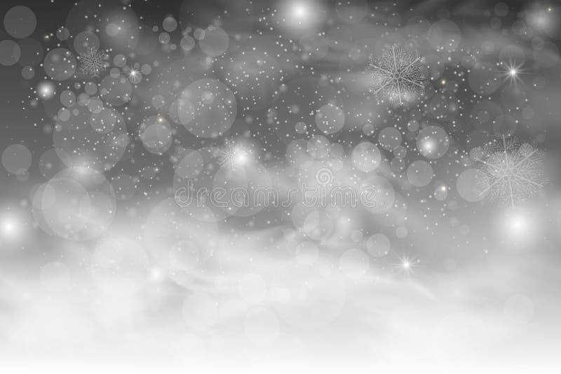 Bożenarodzeniowy spada śnieżny wektor odizolowywający na ciemnym tle ilustracja wektor